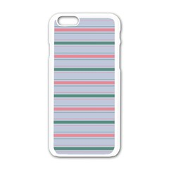 Horizontal Line Green Pink Gray Apple Iphone 6/6s White Enamel Case