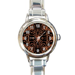 Golden Fire Pattern Polygon Space Round Italian Charm Watch