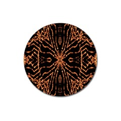 Golden Fire Pattern Polygon Space Magnet 3  (round)