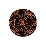 Golden Fire Pattern Polygon Space Magnet 3  (Round) Front