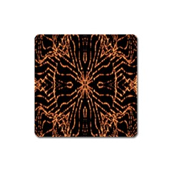 Golden Fire Pattern Polygon Space Square Magnet