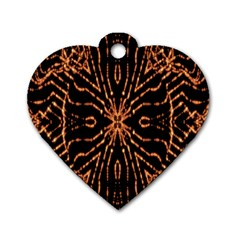 Golden Fire Pattern Polygon Space Dog Tag Heart (one Side)