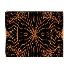 Golden Fire Pattern Polygon Space Cosmetic Bag (xl)