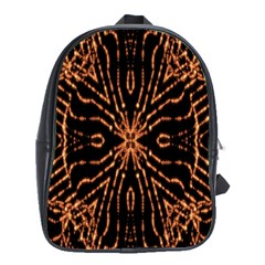 Golden Fire Pattern Polygon Space School Bag (large)