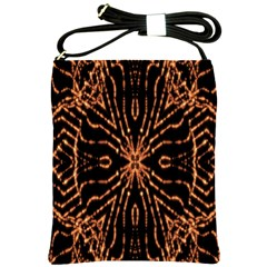 Golden Fire Pattern Polygon Space Shoulder Sling Bags