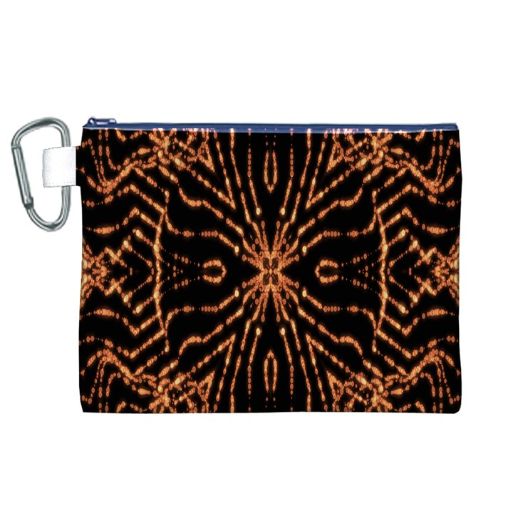 Golden Fire Pattern Polygon Space Canvas Cosmetic Bag (XL)