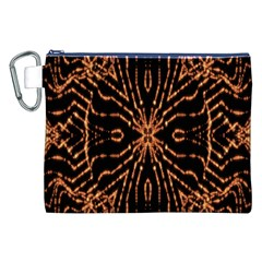 Golden Fire Pattern Polygon Space Canvas Cosmetic Bag (xxl)