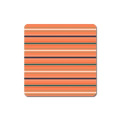 Horizontal Line Orange Square Magnet