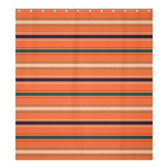 Horizontal Line Orange Shower Curtain 66  X 72  (large)