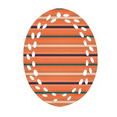 Horizontal Line Orange Oval Filigree Ornament (two Sides)