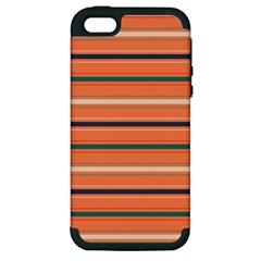 Horizontal Line Orange Apple Iphone 5 Hardshell Case (pc+silicone)