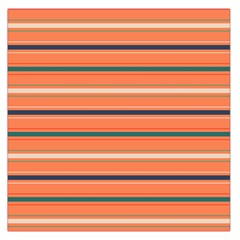 Horizontal Line Orange Large Satin Scarf (square)