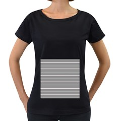 Horizontal Line Grey Pink Women s Loose Fit T Shirt (black)