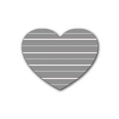 Horizontal Line Grey Pink Heart Coaster (4 Pack)