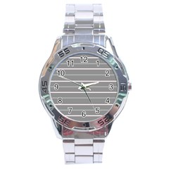 Horizontal Line Grey Pink Stainless Steel Analogue Watch