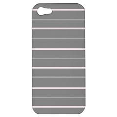 Horizontal Line Grey Pink Apple Iphone 5 Hardshell Case