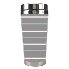 Horizontal Line Grey Pink Stainless Steel Travel Tumblers