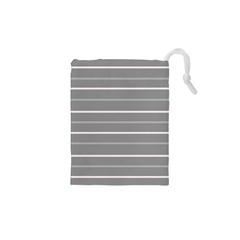 Horizontal Line Grey Pink Drawstring Pouches (xs)