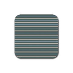 Horizontal Line Grey Blue Rubber Square Coaster (4 Pack)
