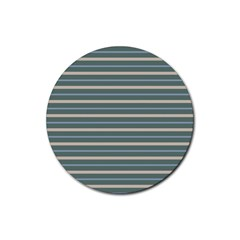Horizontal Line Grey Blue Rubber Round Coaster (4 Pack)