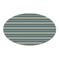 Horizontal Line Grey Blue Oval Magnet