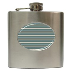 Horizontal Line Grey Blue Hip Flask (6 Oz)