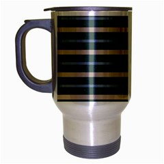 Horizontal Line Grey Blue Travel Mug (silver Gray)