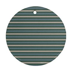 Horizontal Line Grey Blue Round Ornament (two Sides)