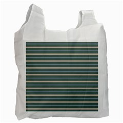 Horizontal Line Grey Blue Recycle Bag (two Side)