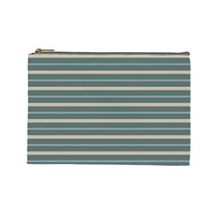 Horizontal Line Grey Blue Cosmetic Bag (large)