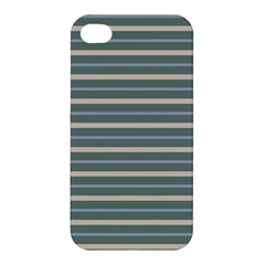 Horizontal Line Grey Blue Apple Iphone 4/4s Premium Hardshell Case