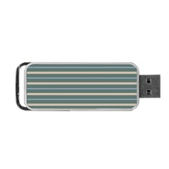 Horizontal Line Grey Blue Portable Usb Flash (one Side)