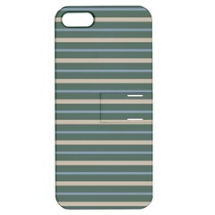 Horizontal Line Grey Blue Apple Iphone 5 Hardshell Case With Stand