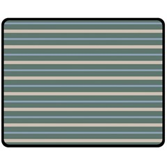 Horizontal Line Grey Blue Double Sided Fleece Blanket (medium)