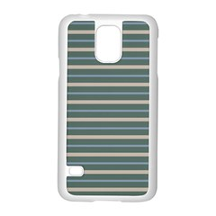 Horizontal Line Grey Blue Samsung Galaxy S5 Case (white)