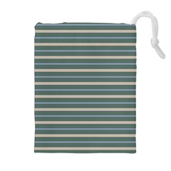 Horizontal Line Grey Blue Drawstring Pouches (extra Large)