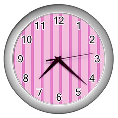 Line Pink Vertical Wall Clocks (silver)