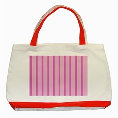 Line Pink Vertical Classic Tote Bag (red)