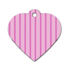 Line Pink Vertical Dog Tag Heart (two Sides)