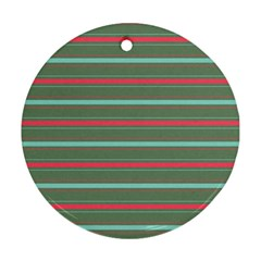 Horizontal Line Red Green Ornament (round)