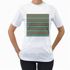 Horizontal Line Red Green Women s T Shirt (white) (two Sided)
