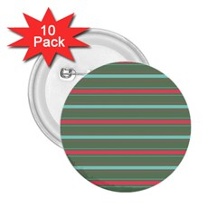Horizontal Line Red Green 2 25  Buttons (10 Pack)