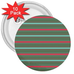 Horizontal Line Red Green 3  Buttons (10 Pack)
