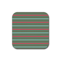 Horizontal Line Red Green Rubber Square Coaster (4 Pack)