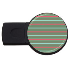 Horizontal Line Red Green Usb Flash Drive Round (4 Gb)
