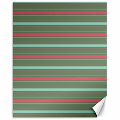 Horizontal Line Red Green Canvas 11  X 14