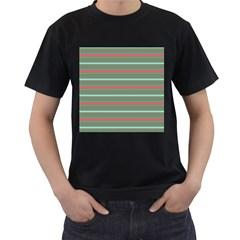 Horizontal Line Red Green Men s T Shirt (black)