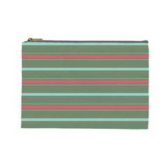 Horizontal Line Red Green Cosmetic Bag (large)