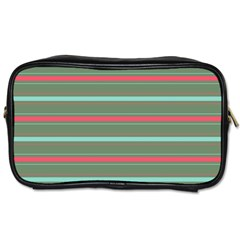 Horizontal Line Red Green Toiletries Bags 2 Side