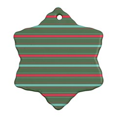 Horizontal Line Red Green Snowflake Ornament (two Sides)